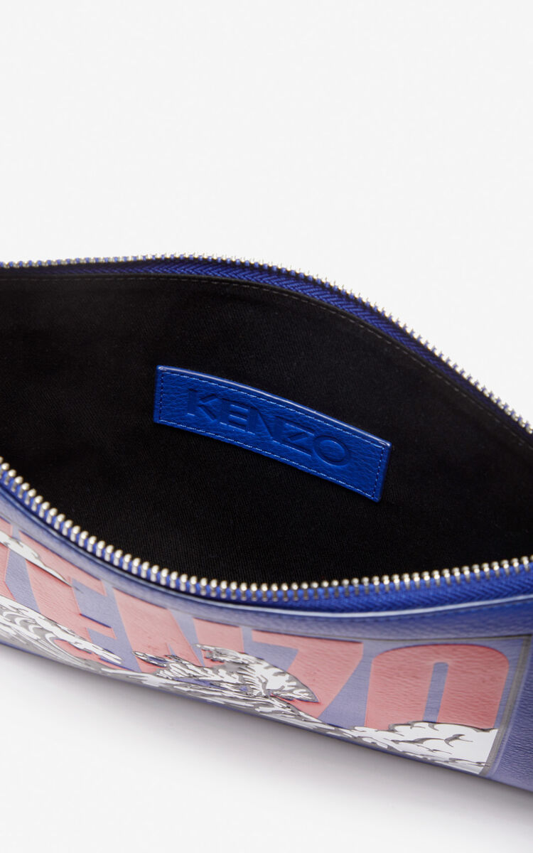 SLATE BLUE 'Tiger Mountain' A4 clutch for unisex KENZO