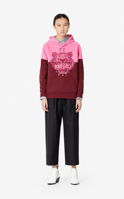 BORDEAUX Tiger two-tone hooded sweatshirt for women KENZO