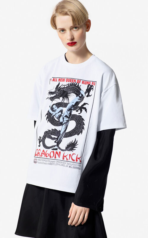 WHITE 'Dragon Kick' oversized tshirt for women KENZO