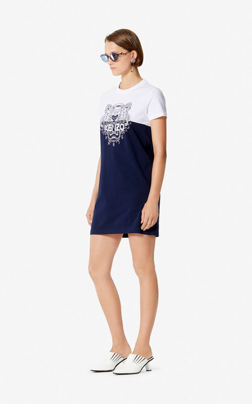 MIDNIGHT BLUE 'Colorblock Tiger' t-shirt dress for women KENZO