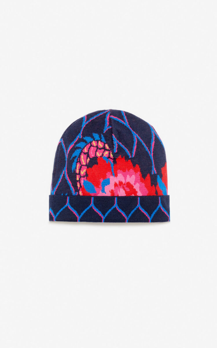 NAVY BLUE 'Japanese Flower' beanie for women KENZO