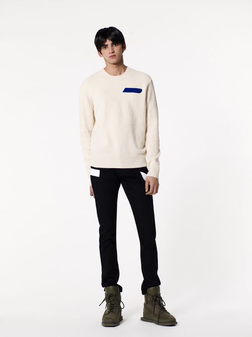 BLACK Skinny Jean With White Stripes for men KENZO
