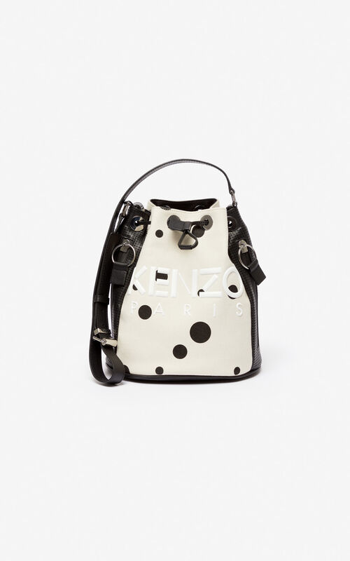 CREAM KENZO Kombo 'Dots' bucket bag for unisex