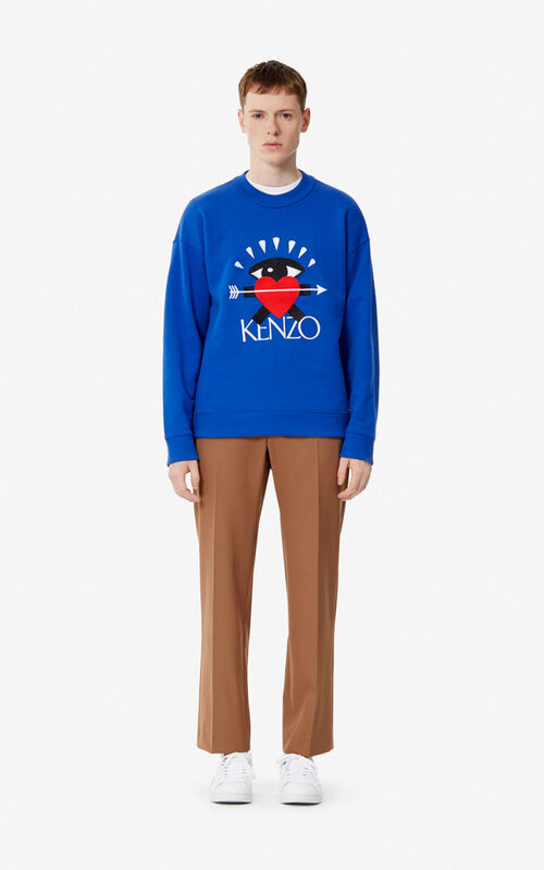 SLATE BLUE 'I ❤ KENZO' sweatshirt for men