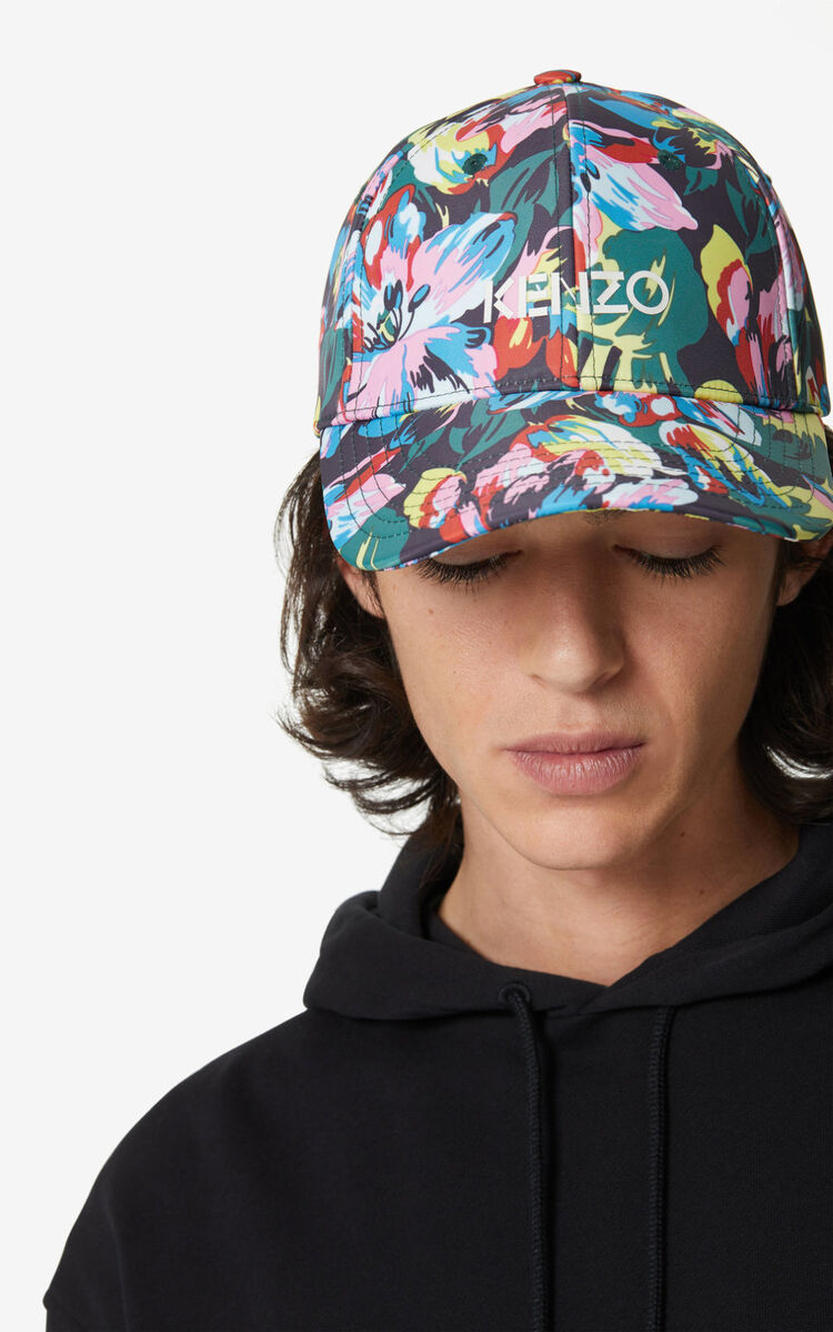 BLACK 'Tulipes' cap for unisex KENZO