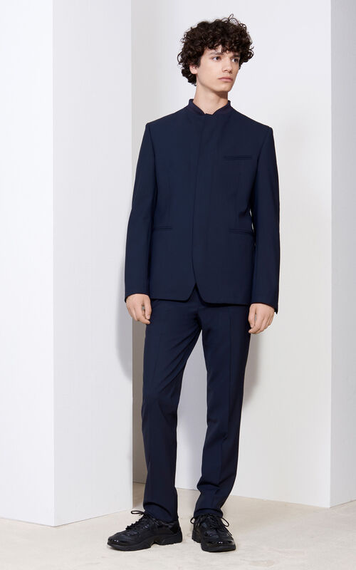 Stretch Wool Tapered Pants, MIDNIGHT BLUE, KENZO