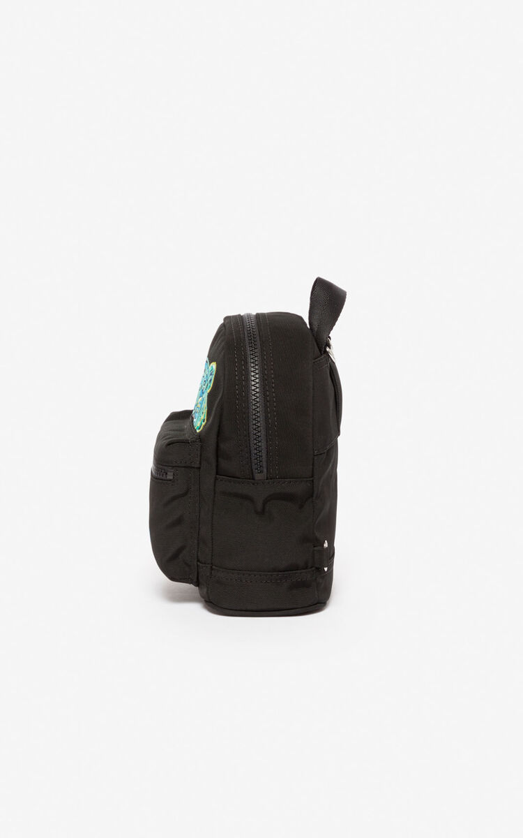 BLACK Mini Tiger Canvas backpack  for men KENZO