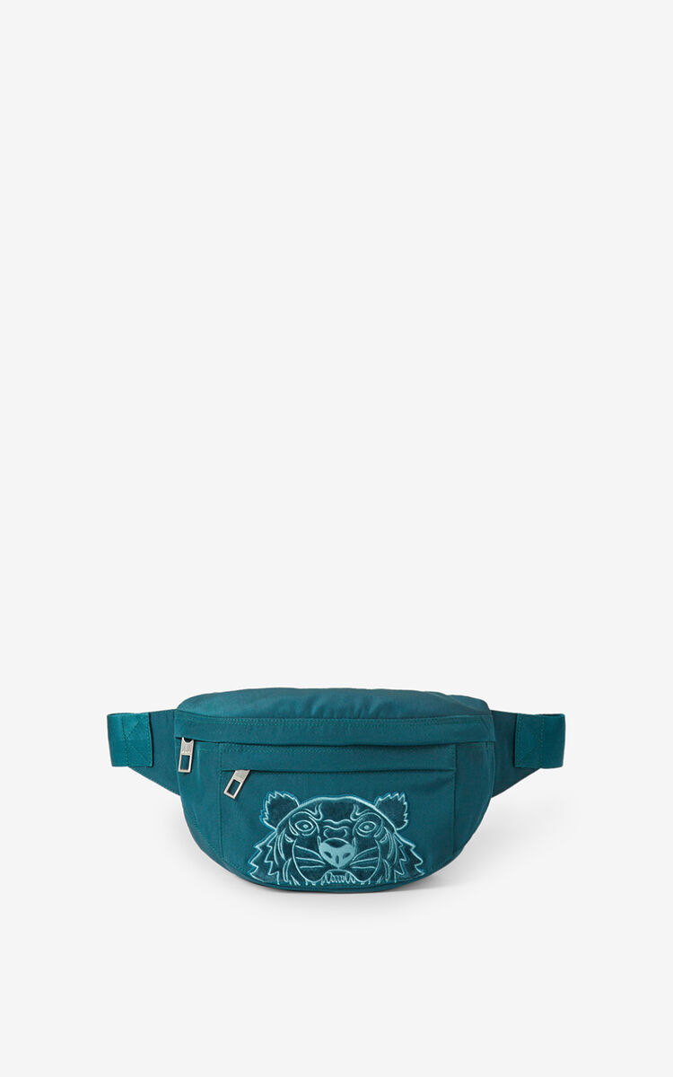 DUCK BLUE Kampus Tiger canvas belt bag for men KENZO