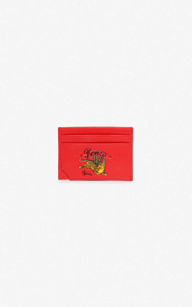 MEDIUM RED 'Jumping Tiger' leather card holder for unisex KENZO