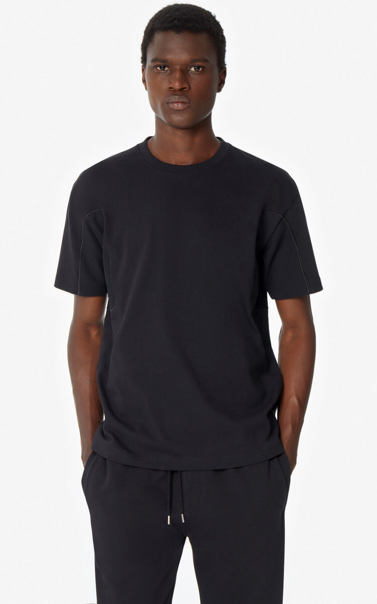 BLACK Dual-material T-shirt for men KENZO