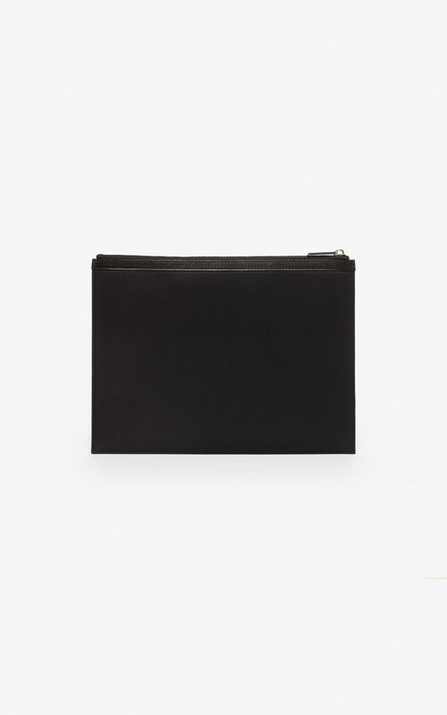 BLACK 'Dragon' A4 clutch for unisex KENZO
