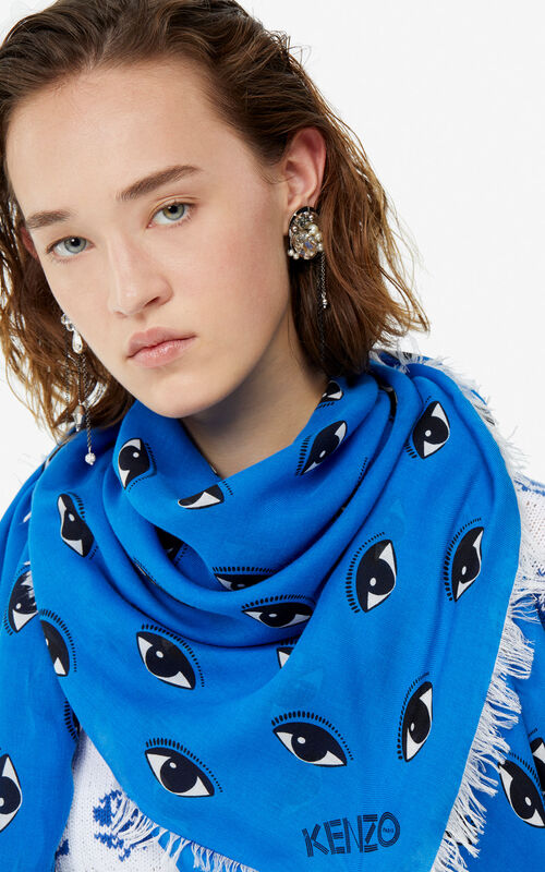 COBALT Large multi eye scarf for women KENZO