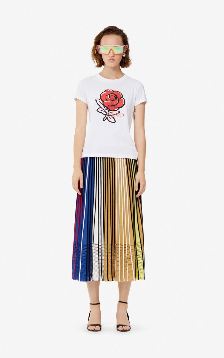 WHITE 'Roses' T-shirt for women KENZO