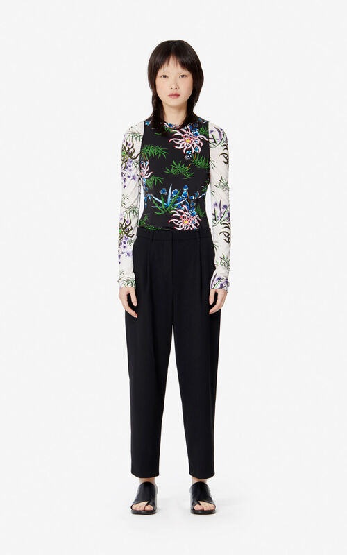 BLACK 'Sea Lily' T-shirt for women KENZO