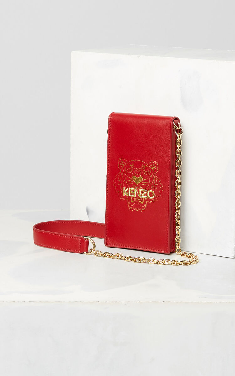 MEDIUM RED Chained Tiger Phone Case for men KENZO