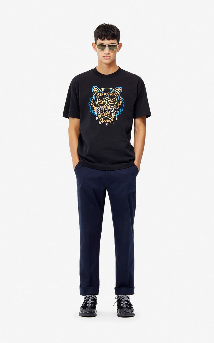 BLACK Neon Tiger t-shirt for men KENZO