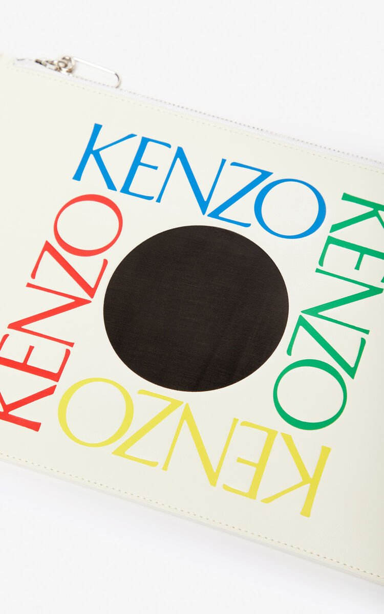 WHITE A4 'Square Logo' leather clutch for men KENZO