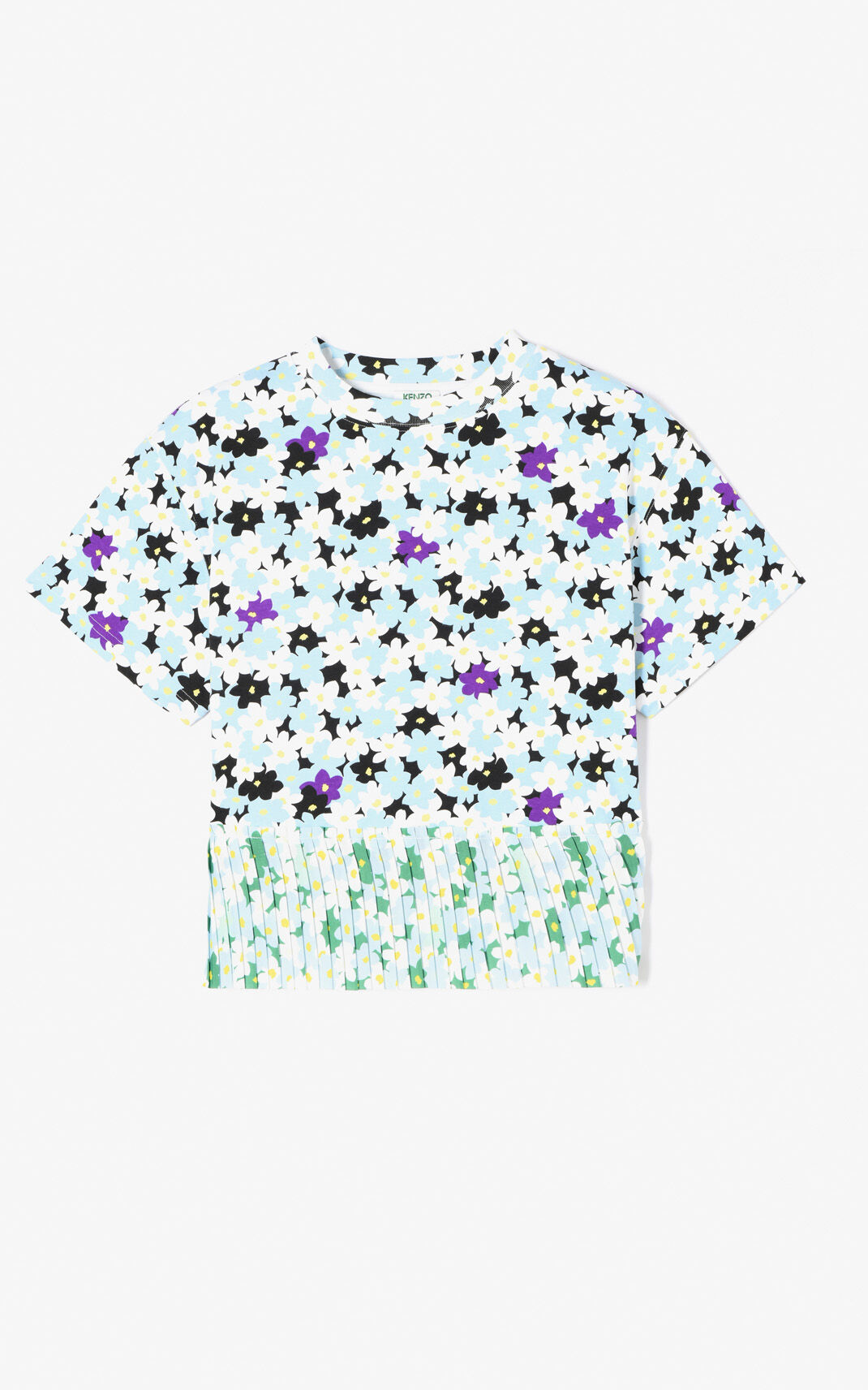LIGHT BLUE 'Jackie Flowers' pleated top for women KENZO