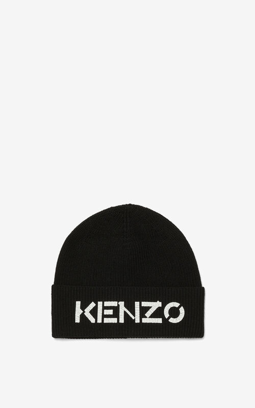 BLACK KENZO Logo knit cap for unisex