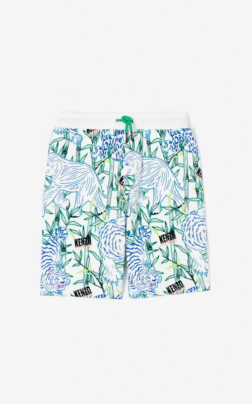 WHITE 'Disco Jungle' Jogging Shorts for men KENZO
