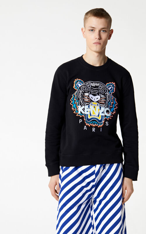 DEEP SEA BLUE Shorts with diagonal stripes for men KENZO