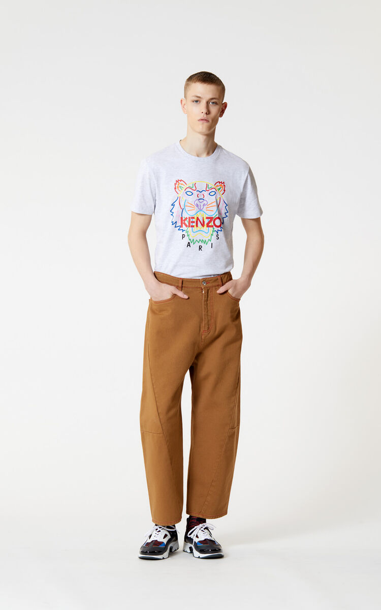 PALE GREY 'High Summer Capsule Collection' Tiger t-shirt for men KENZO