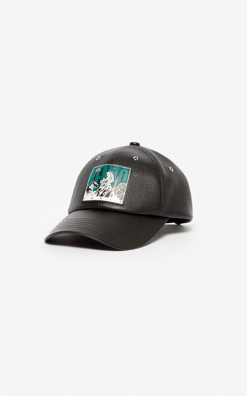 BLACK Leather cap 'Tiger Mountain' for unisex KENZO
