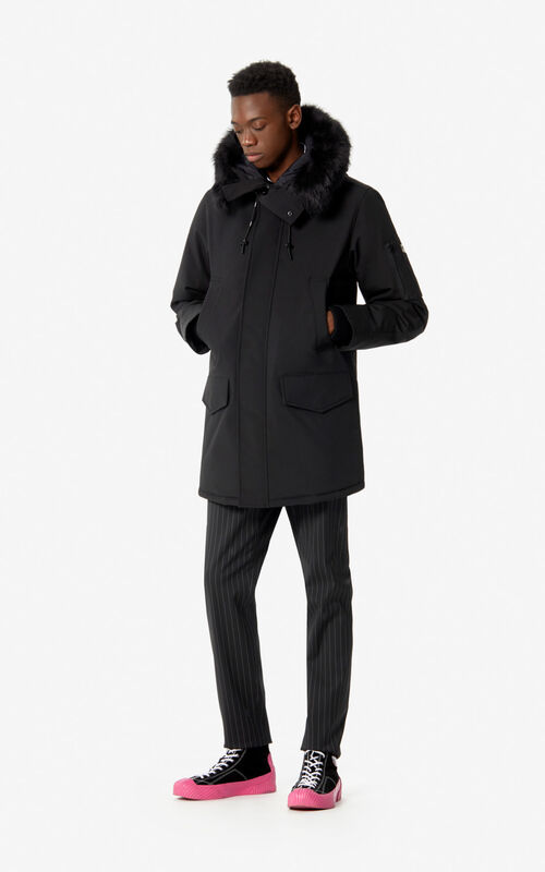 BLACK Long hooded parka for men KENZO