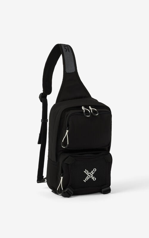 BLACK KENZO Sport backpack with strap for men