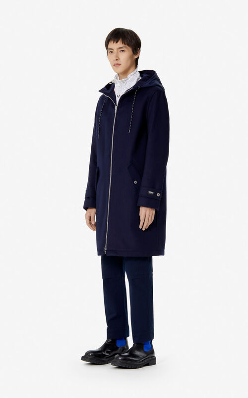 NAVY BLUE Hooded long coat for men KENZO