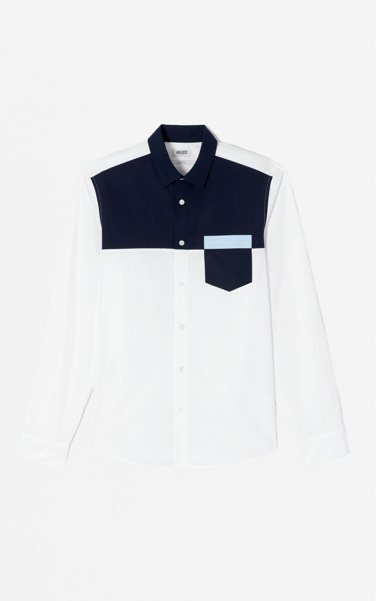 WHITE Two-Tone Shirt for women KENZO