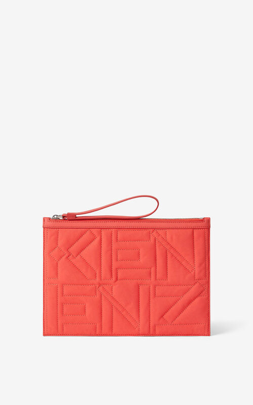 RED ORANGE Arctic nylon clutch for unisex KENZO