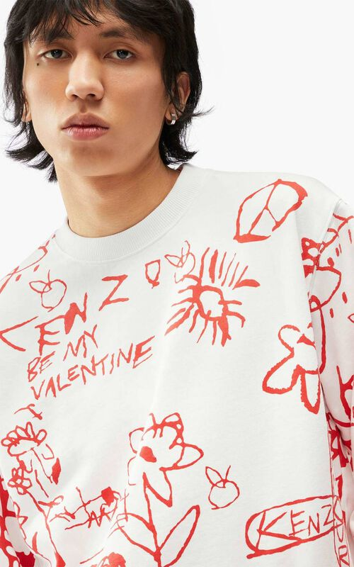 WHITE Printed sweatshirt for men KENZO