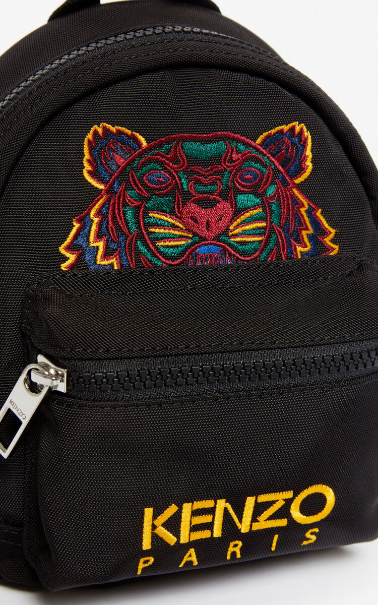 BLACK Mini Tiger Canvas backpack for unisex KENZO