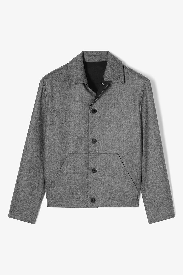 DARK GREY Reversible flannel jacket for women KENZO