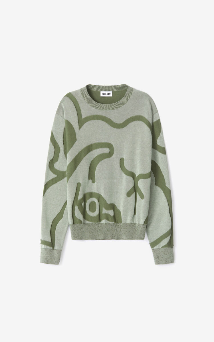 SAGE GREEN K-Tiger jumper for women KENZO