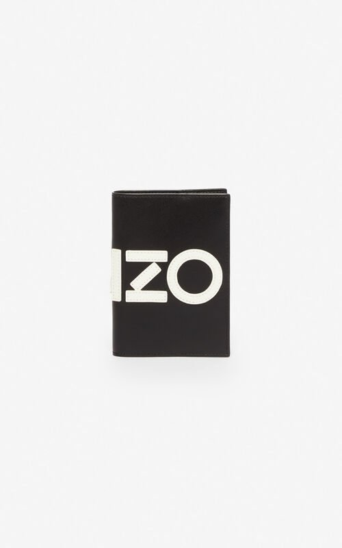 BLACK KENZO leather passport holder for men