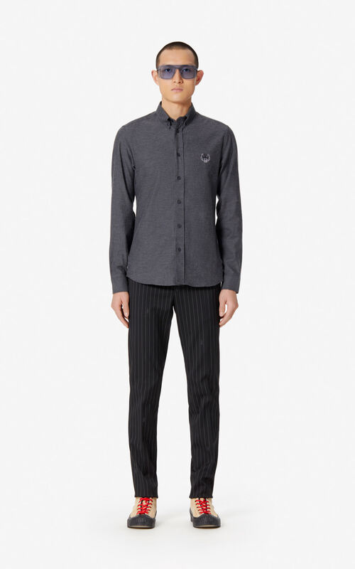 ANTHRACITE Tiger slim-fit shirt for men KENZO