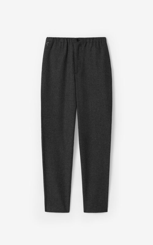 STONE GREY Wool jogging trousers for unisex KENZO