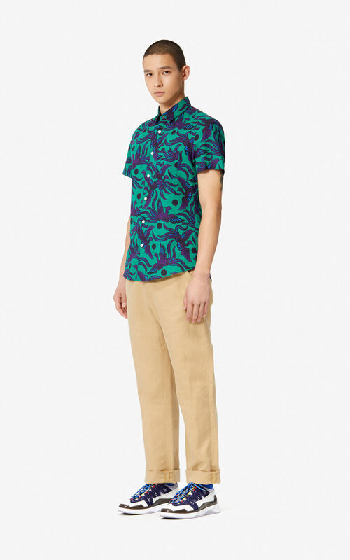 GRASS GREEN 'Flying Phoenix' slim-fit shirt for men KENZO
