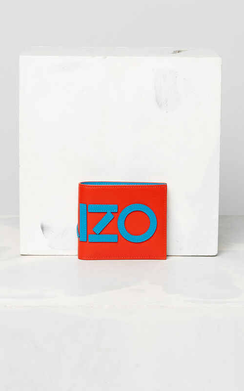 MEDIUM RED KENZO colorblock wallet for unisex