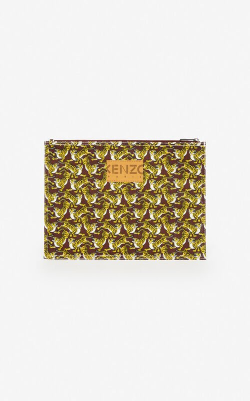 BORDEAUX 'Running Tiger' XL clutch for men KENZO
