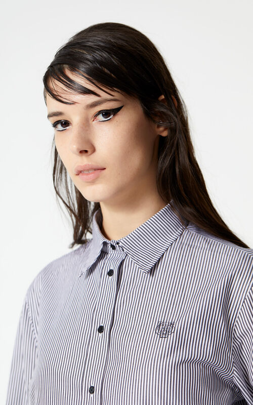 BLACK Striped Tiger shirt for women KENZO