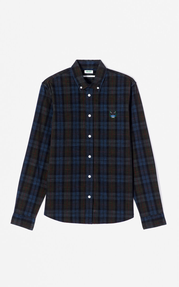 NAVY BLUE Corduroy Tiger Shirt for men KENZO