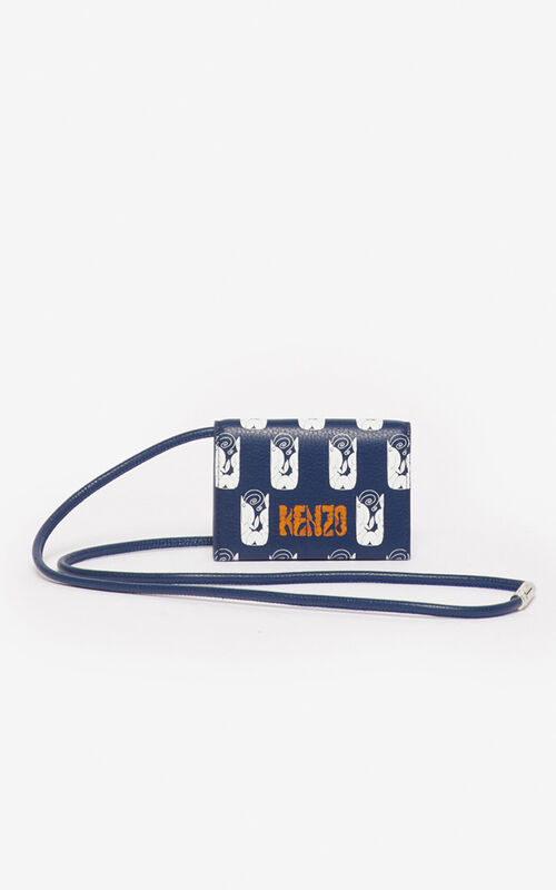 NAVY BLUE 'Shrimps' card holder on strap for unisex KENZO