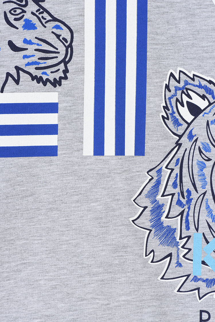 MIDDLE GREY Tiger Friends Long T-shirt for men KENZO
