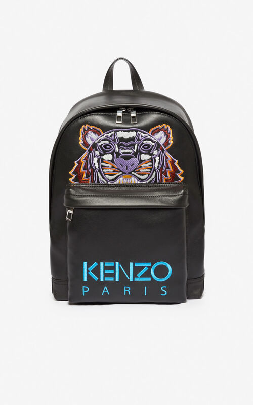 BLACK Tiger leather backpack for unisex KENZO