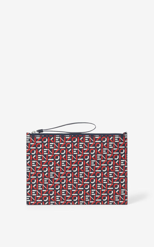 MEDIUM RED Large monogram leather clutch  for unisex KENZO