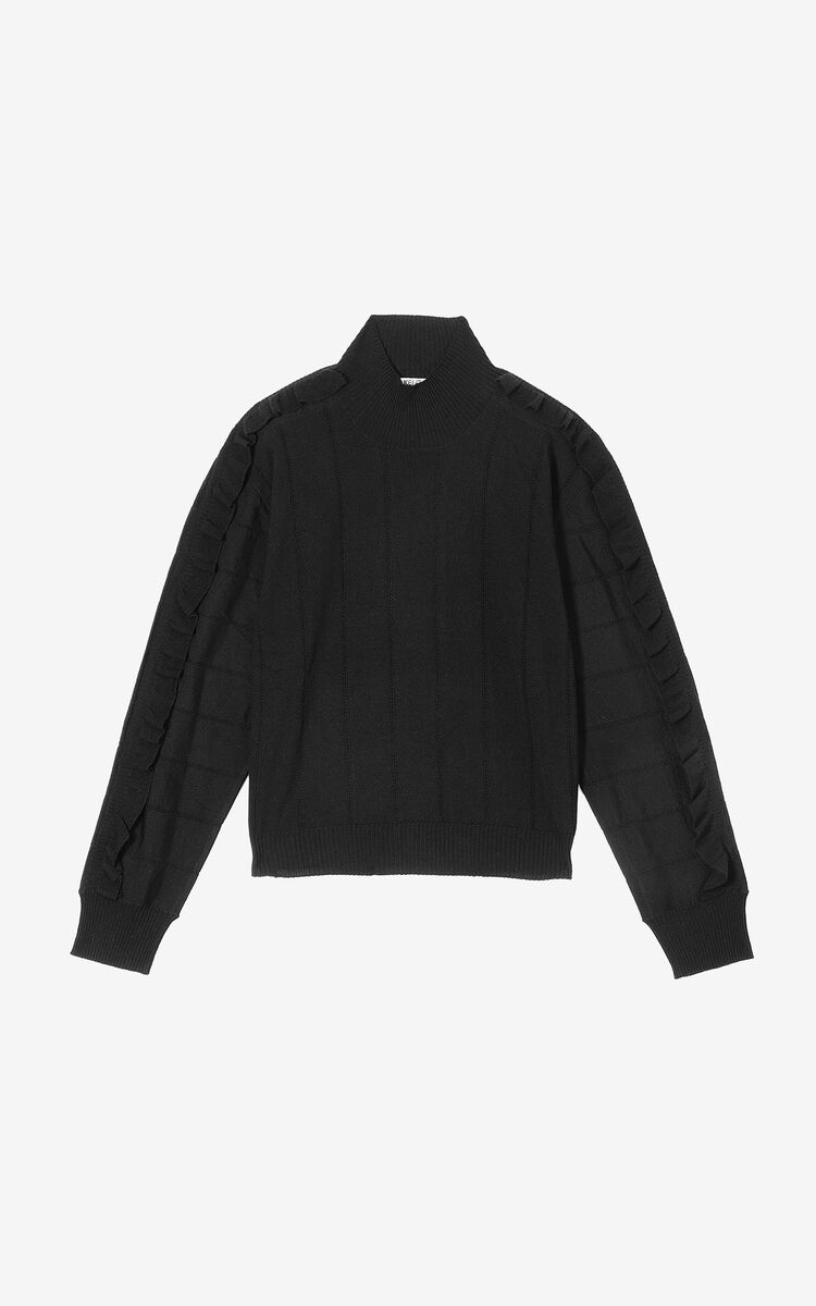 BLACK Frilled jumper for women KENZO