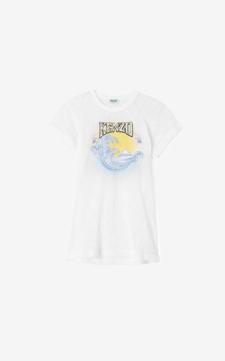 WHITE Mesh 'Waves' T-shirt for women KENZO